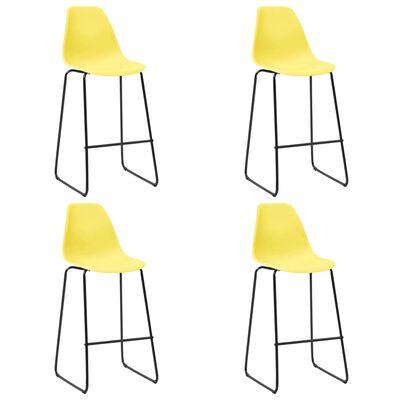 vidaXL Bar Chairs 4 pcs Yellow Plastic
