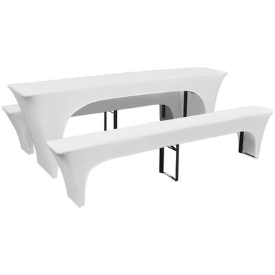 3 Slipcovers for Beer Table and Benches Stretch White 220 x 70 x 80 cm