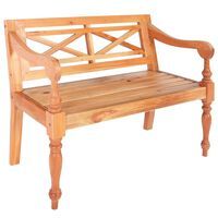 vidaXL Batavia Bench 98 cm Solid Mahogany Wood Light Brown