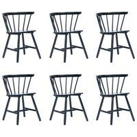 vidaXL Dining Chairs 6 pcs Black Solid Rubber Wood