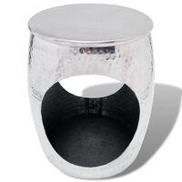 vidaXL Hocker/Side Table Barrel Shape Aluminium Silver