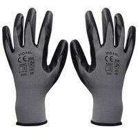 vidaXL Work Gloves Nitrile 1 Pair Grey and Black Size 9/L