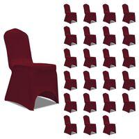 vidaXL Chair Cover Stretch Burgundy 24 pcs