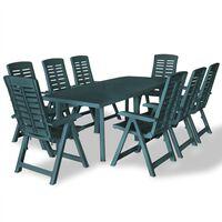 vidaXL 9 Piece Outdoor Dining Set Plastic Green