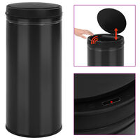 vidaXL Automatic Sensor Dustbin 80 L Carbon Steel Black