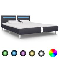 vidaXL Bed Frame with LED Black Faux Leather 150x200 cm