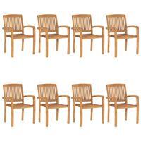 vidaXL Stacking Garden Chairs 8 pcs Solid Teak Wood