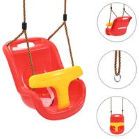 vidaXL Baby Swing with Safety Belt PP Red