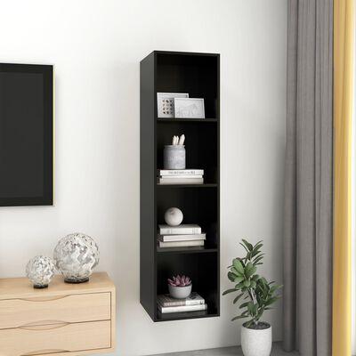 vidaXL Wall-mounted TV Cabinet Black 37x37x142.5 cm Chipboard