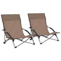 vidaXL Folding Beach Chairs 2 pcs Taupe Fabric