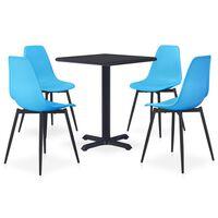 vidaXL 5 Piece Outdoor Dining Set Metal and PP Blue