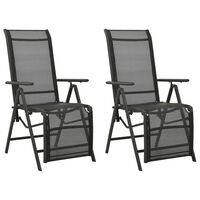 vidaXL Reclining Garden Chairs 2pcs Textilene and Aluminium Anthracite