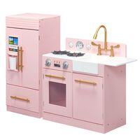 Teamson Kids Childrens Large Wooden Play Kitchen Pink Toy TD-12302P