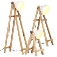 vidaXL Floor Lamps 3 pcs White E27 Solid Mango Wood