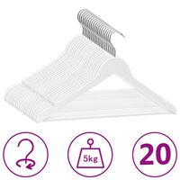 vidaXL 20 pcs Clothes Hanger Set Non-slip White Hardwood