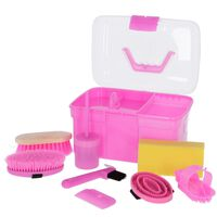 Kerbl Mini Grooming Box with 8 Tools Pink 321766
