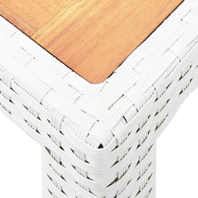 Garden Table White 150x90x75 cm Poly Rattan and Solid Acacia Wood