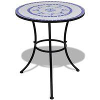 vidaXL Bistro Table Blue and White 60 cm Mosaic