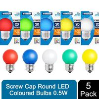 Status Led Assorted Colours Round Leo Bulbs 0.5 W , Pack Of 5