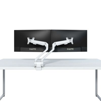 NewStar Full Motion Desk Mount for Two 10-32 Monitor Screen Adjustable 47 cm White
