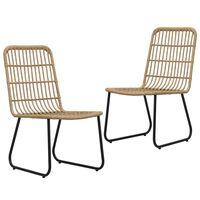 vidaXL Garden Chairs 2 pcs Poly Rattan Oak