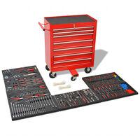 vidaXL Workshop Tool Trolley with 1125 Tools Steel Red