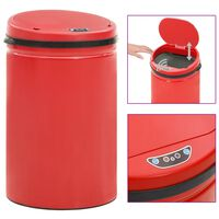 vidaXL Automatic Sensor Dustbin 30 L Carbon Steel Red