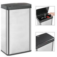 vidaXL Automatic Sensor Dustbin Silver and Black Stainless Steel 70 L