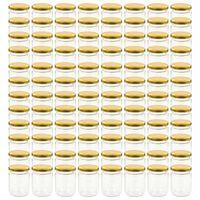 vidaXL Glass Jam Jars with Gold Lid 96 pcs 230 ml