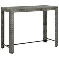 vidaXL Garden Bar Table Grey 140.5x60.5x110.5 cm Poly Rattan