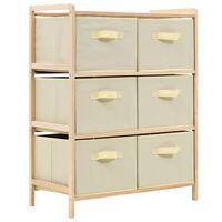 vidaXL Storage Rack with 6 Fabric Baskets Cedar Wood Beige
