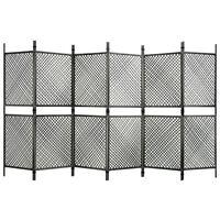 vidaXL 6-Panel Room Divider Poly Rattan Anthracite 360x200 cm