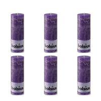 Bolsius Rustic Pillar Candle 190 x 68 mm Purple 6 pcs
