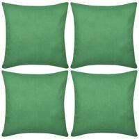 4 Green Cushion Covers Cotton 40 x 40 cm