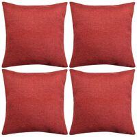 vidaXL Cushion Covers 4 pcs Linen-look Burgundy 40x40 cm