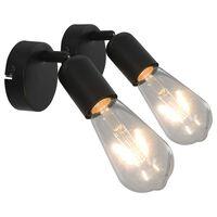 vidaXL Spot Lights 2 pcs with Filament Bulbs 2 W Black E27