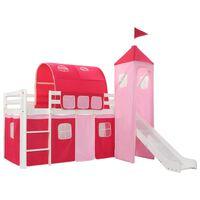 vidaXL Children's Loft Bed Frame with Slide Ladder Pinewood 208x230 cm