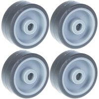 """50mm 2"""" wheel grey rubber tyre with plastic centre 160kg capacity, set"""