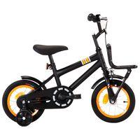 vidaXL Kids Bike with Front Carrier 12 inch Black and Orange