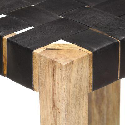 vidaXL Bar Stools 2 pcs Black Real Leather 75 cm