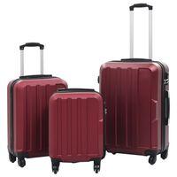 vidaXL Hardcase Trolley Set 3 pcs Wine Red ABS