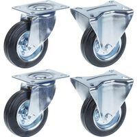 """100mm 4"""" castor rubber tyre, swivel & fixed, strong 360kg capacity,"""