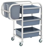 vidaXL Kitchen Cart with Plastic Containers 87x43.5x92 cm