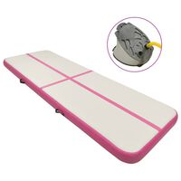 vidaXL Inflatable Gymnastics Mat with Pump 500x100x20 cm PVC Pink