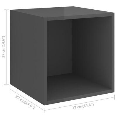 vidaXL Wall Cabinets 4 pcs High Gloss Grey 37x37x37 cm Chipboard