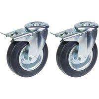 "125mm 5"" castor rubber tyre, swivel with brake, strong 240kg capacity,"