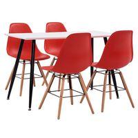vidaXL 7 Piece Dining Set Plastic Red