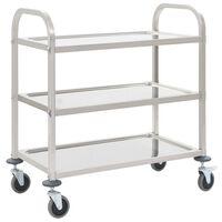 vidaXL 3-Tier Kitchen Trolley 87x45x83.5 cm Stainless Steel