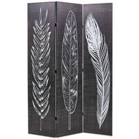 vidaXL Folding Room Divider 120x170 cm Feathers Black and White