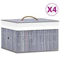 vidaXL Bamboo Storage Boxes 4 pcs Grey